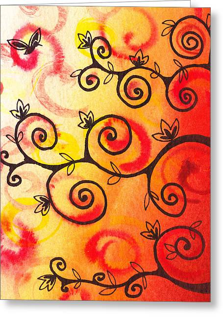 Kids Artist Greeting Cards - Fun Tree Of Life Impression I Greeting Card by Irina Sztukowski