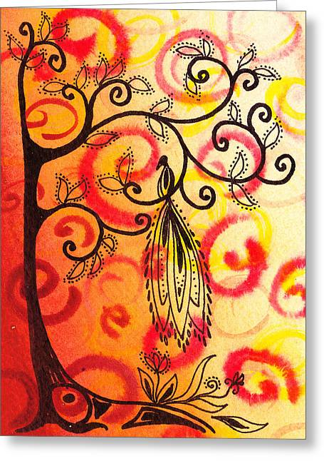 Bold Style Greeting Cards - Fun Tree Of Life Impression II Greeting Card by Irina Sztukowski