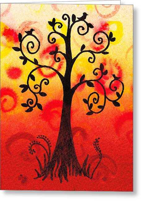 Bold Style Greeting Cards - Fun Tree Of Life Impression III Greeting Card by Irina Sztukowski