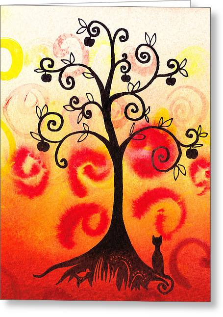 Bold Style Greeting Cards - Fun Tree Of Life Impression IV Greeting Card by Irina Sztukowski
