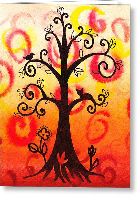 Colorful Trees Greeting Cards - Fun Tree Of Life Impression V Greeting Card by Irina Sztukowski