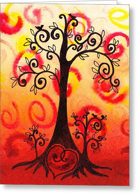Baby Bird Greeting Cards - Fun Tree Of Life Impression VI Greeting Card by Irina Sztukowski