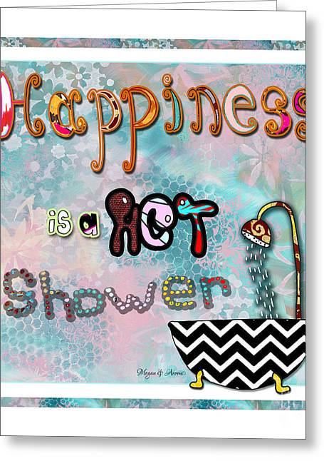 Licensor Greeting Cards - Fun Whimsical Inspirational Word Art Happiness Quote by Megan and Aroon Greeting Card by Megan Duncanson