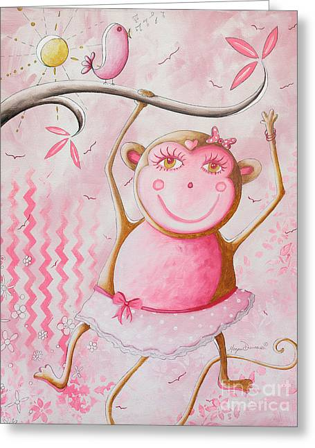 Polkadots Greeting Cards - Fun Whimsical Pink Monkey Princess Baby Girl Nursery Painting by Megan Duncanson Greeting Card by Megan Duncanson