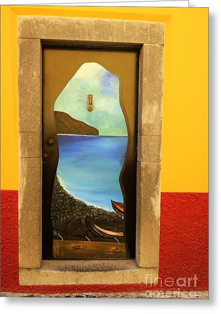 David Birchall Greeting Cards - Funchal Door Art Greeting Card by David Birchall