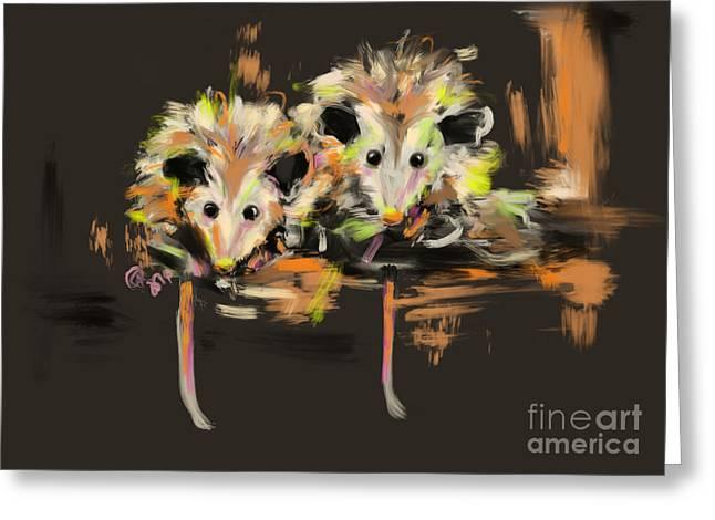 Possum Greeting Cards - Funcky Baby Possums Greeting Card by Go Van Kampen