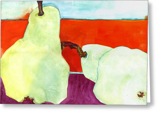 Interior Still Life Paintings Greeting Cards - Fundamental Pears Still Life Greeting Card by Blenda Studio