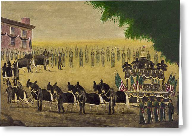 President Drawings Greeting Cards - Funeral car of President Lincoln circa 1879 Greeting Card by Aged Pixel