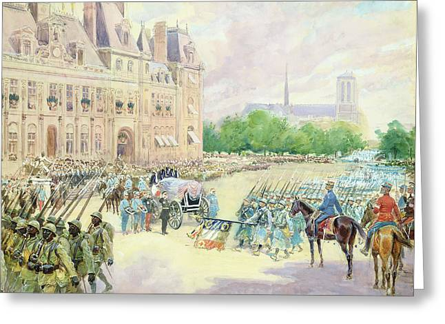 Coffin Greeting Cards - Funeral of General Joseph Gallieni Greeting Card by Alphonse Lalauze