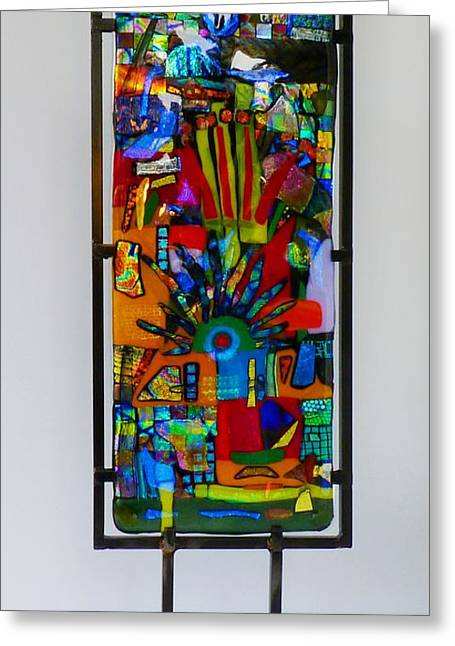 Dichroic Glass Greeting Cards - Funhouse No2 Greeting Card by Mark Lubich