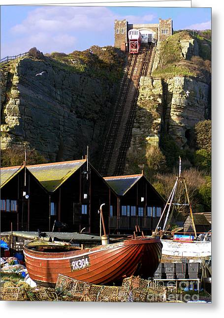 Fishing Boats Greeting Cards - Funicular Railway East Cliff Hastings Greeting Card by Terri  Waters