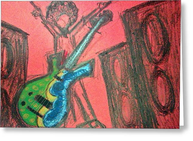 Concerts Pastels Greeting Cards - Funk Bass Greeting Card by Eliza Paul