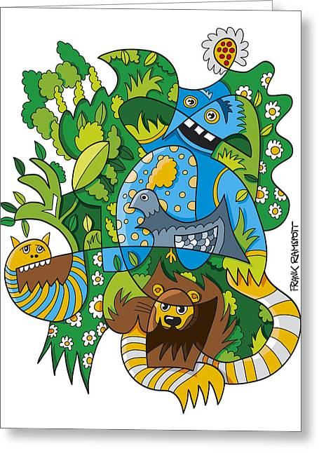 Doodle Greeting Cards - Funky Animals Nature Doodle Greeting Card by Frank Ramspott