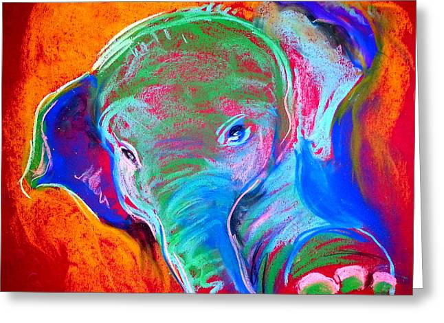 Whimsical. Greeting Cards - Funky Baby Elephant Blue Greeting Card by Sue Jacobi