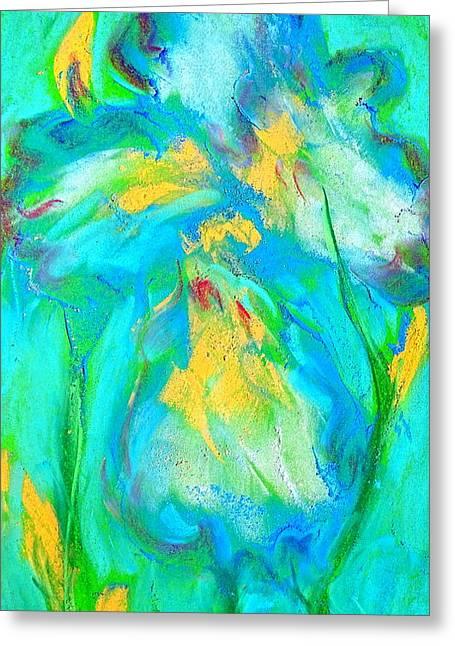 Loose Greeting Cards - Funky Blue Iris Flower Art Prints Greeting Card by Sue Jacobi