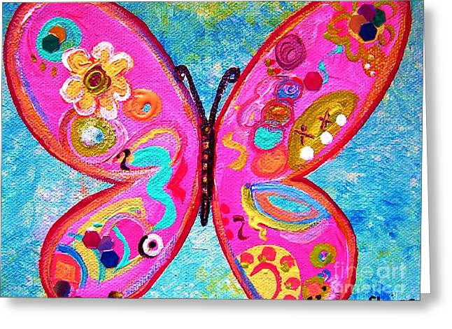 Pop Mixed Media Greeting Cards - Funky Butterfly Greeting Card by Eloise Schneider