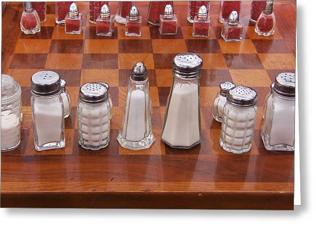 Chess Rook Greeting Cards - Funky Chess Set Greeting Card by Art Block Collections