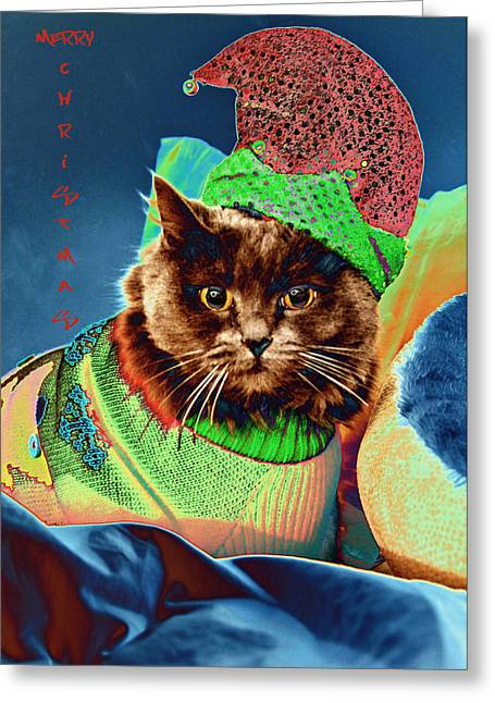 Cat Christmas Cards Greeting Cards - Funky Christmas Cat 2 Greeting Card by Joann Vitali