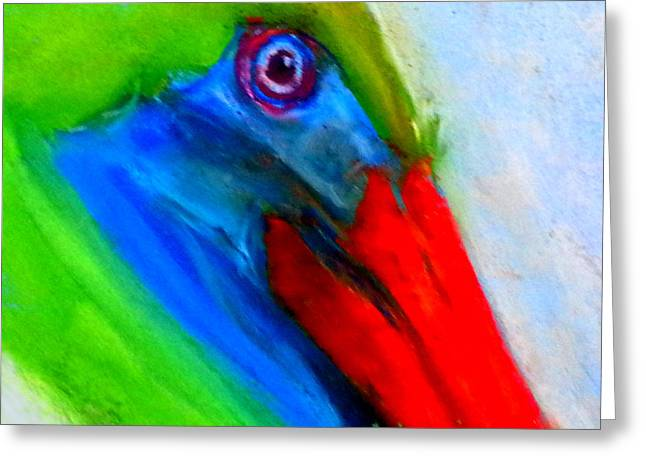 Pelican Art Greeting Cards - Funky Colorful Pelican Art Prints Greeting Card by Sue Jacobi
