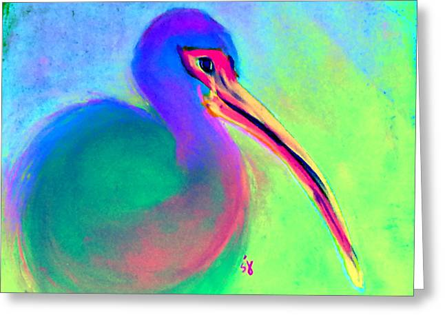 Bold Style Greeting Cards - Funky Colorful White Ibis Art Print Greeting Card by Sue Jacobi