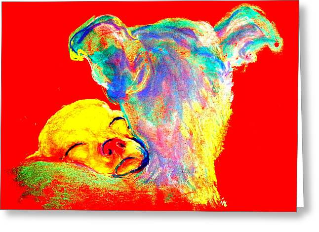 Animals Love Greeting Cards - Funky Doggie and Puppy Dog Art Print Greeting Card by Sue Jacobi