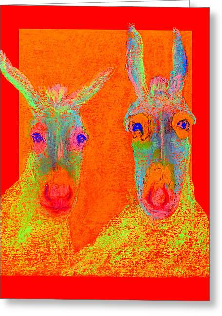 Fauvist Wildlife Art Greeting Cards - Funky Donkeys Art Prints Greeting Card by Sue Jacobi