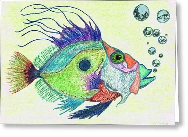 Scuba Diving Mixed Media Greeting Cards - Funky Fish Art - By Sharon Cummings Greeting Card by Sharon Cummings