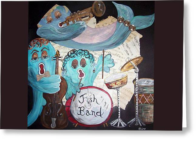 Bass Fish Mixed Media Greeting Cards - Funky Fish Band Under the Sea Greeting Card by Eloise Schneider