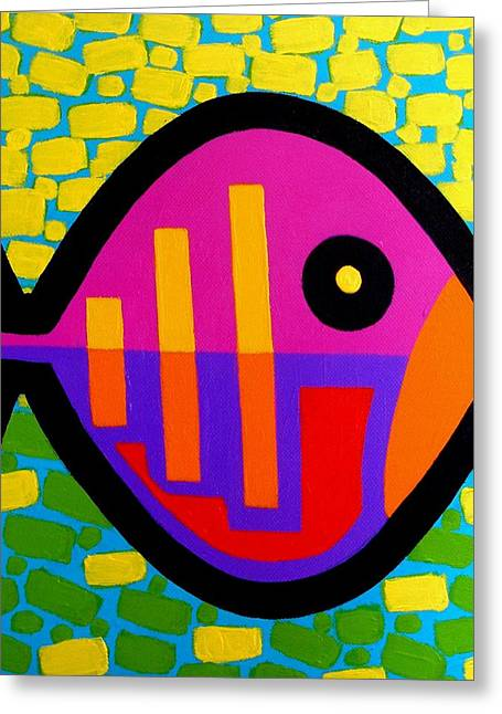 Recently Sold -  - Decorative Fish Greeting Cards - Funky Fish V Greeting Card by John  Nolan