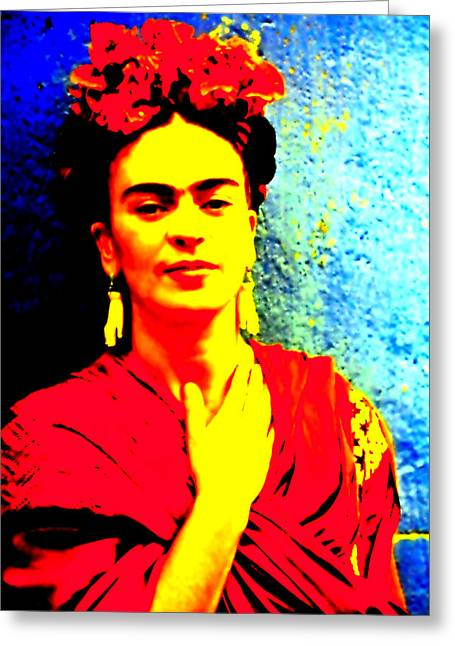 Female ist Mixed Media Greeting Cards - Funky Frida III Greeting Card by Michelle Dallocchio