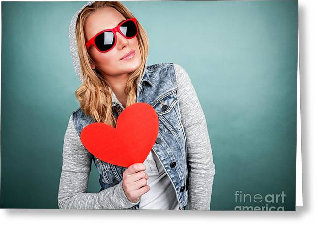 Adolescence Greeting Cards - Funky girl in love Greeting Card by Anna Omelchenko