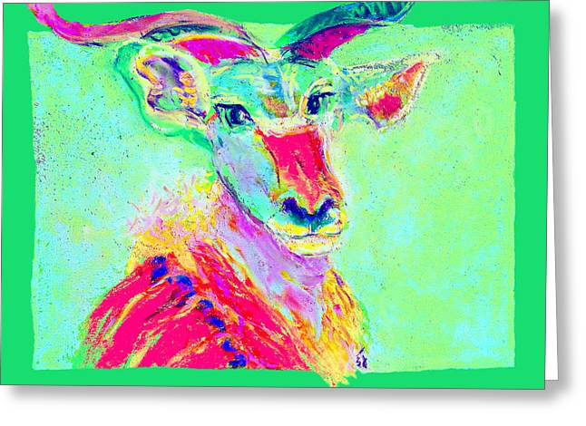 Fauvist Wildlife Art Greeting Cards - Funky Greater Kudu African Wildlife Art Prints Greeting Card by Sue Jacobi
