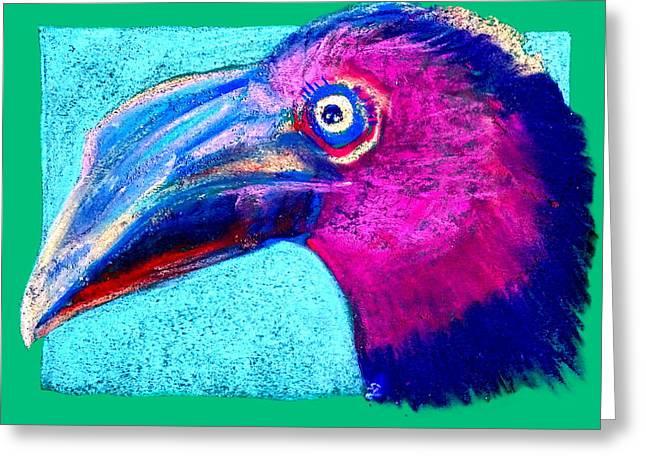 Hornbill Paintings Greeting Cards - Funky Hornbill Bird Art Prints Greeting Card by Sue Jacobi