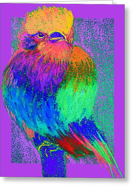 Bold Style Greeting Cards - Funky Lilac Breasted Roller Bird Art Prints Greeting Card by Sue Jacobi