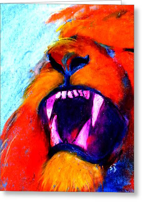 Bold Style Greeting Cards - Funky Lion Roaring Jungle King Greeting Card by Sue Jacobi