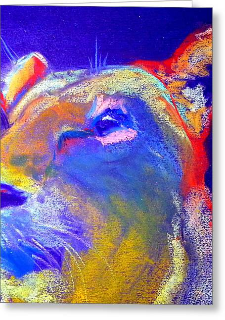 Lioness Greeting Cards - Funky Lioness Jungle Queen Greeting Card by Sue Jacobi