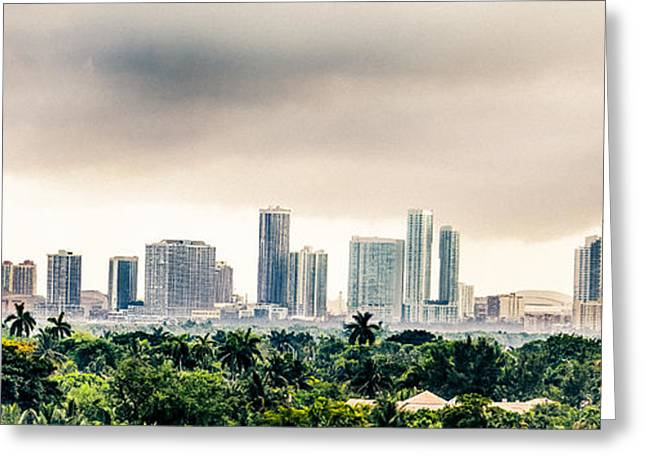 American Airlines Arena Greeting Cards - Funky Miami Skyline Greeting Card by Rene Triay Photography