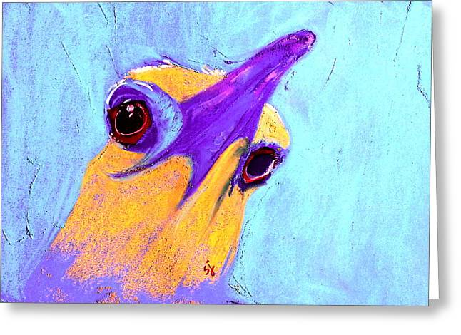 Bold Style Greeting Cards - Funky Night Heron Bird Art Print Greeting Card by Sue Jacobi