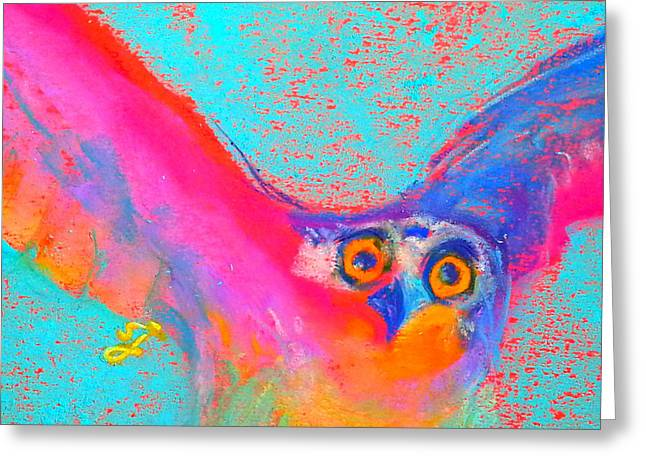 Psychedelic Owl Greeting Cards - Funky Osprey Bird in Flight Art Prints Greeting Card by Sue Jacobi