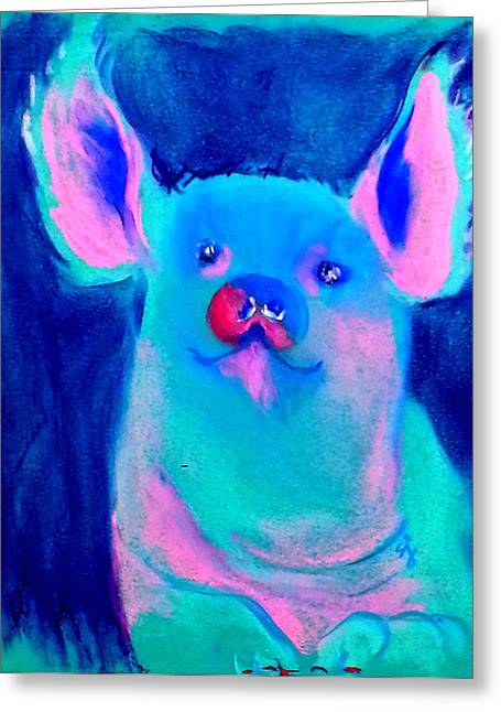 Piglets Greeting Cards - Funky Piggy Blue Greeting Card by Sue Jacobi