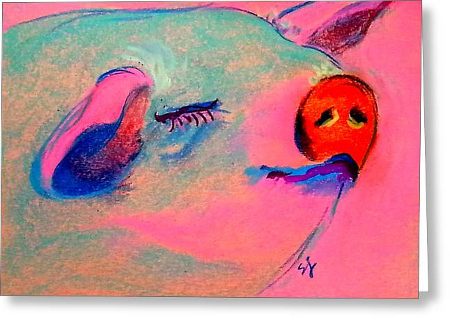 Piglets Greeting Cards - Funky Piggy Pink Greeting Card by Sue Jacobi
