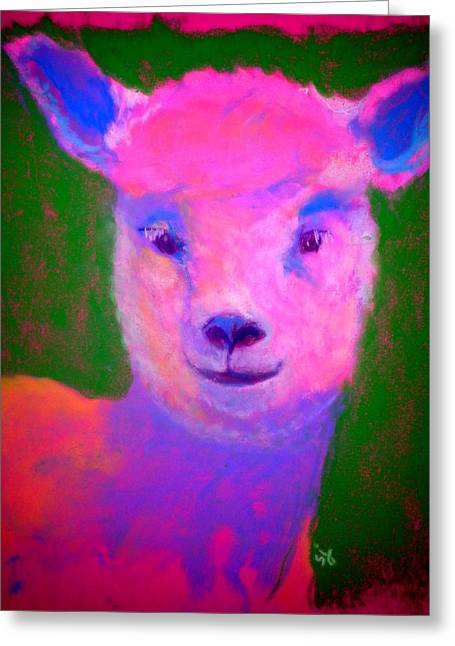 Fauvist Wildlife Art Greeting Cards - Funky Pinky Lamb Art Print Greeting Card by Sue Jacobi