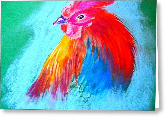 Bright Color Rooster Greeting Cards - Funky Rooster Art Print Greeting Card by Sue Jacobi