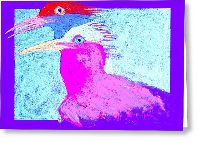 Tern Greeting Cards - Funky Royal Terns Birds Couple Art Prints Greeting Card by Sue Jacobi