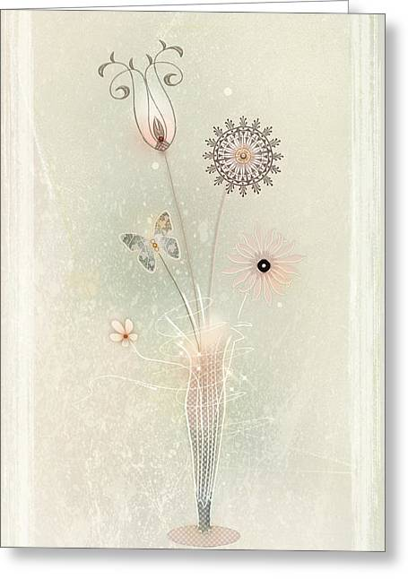 Pretending Greeting Cards - Funky Spring Bouquet Greeting Card by Bernie  Lee
