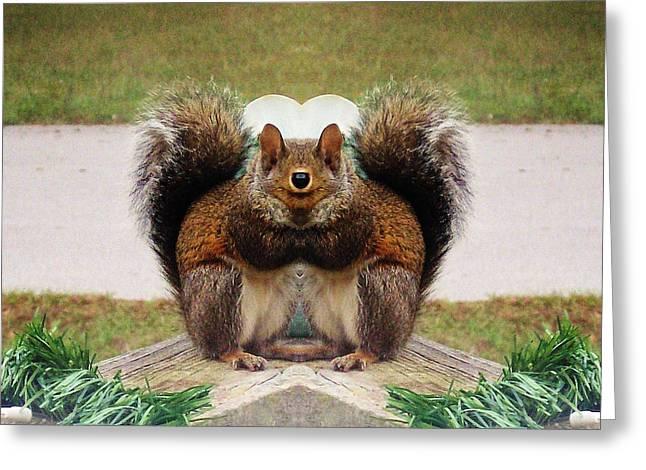To Be Normal Greeting Cards - Funky Squirrel Eating Greeting Card by Belinda Lee