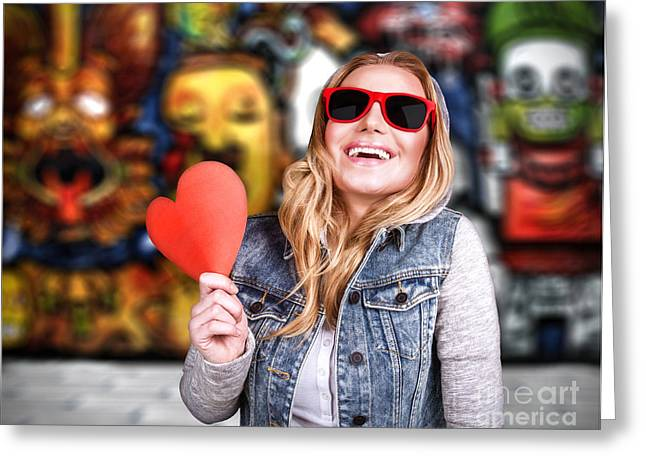 Teen Town Greeting Cards - Funky teen girl in love Greeting Card by Anna Omelchenko