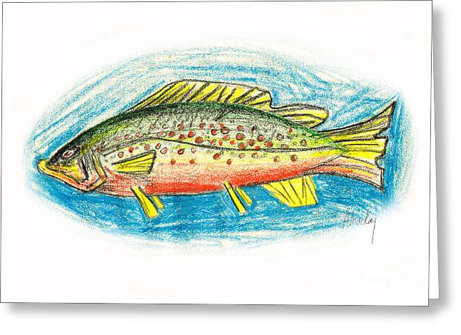 Trout Mixed Media Greeting Cards - Funky Trout Greeting Card by Art  MacKay
