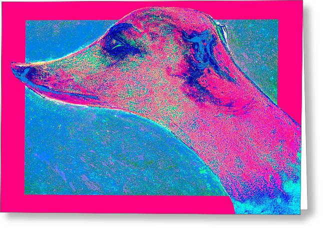 Doggy-style Greeting Cards - Funky Whippet Dog Art Print Greeting Card by Sue Jacobi