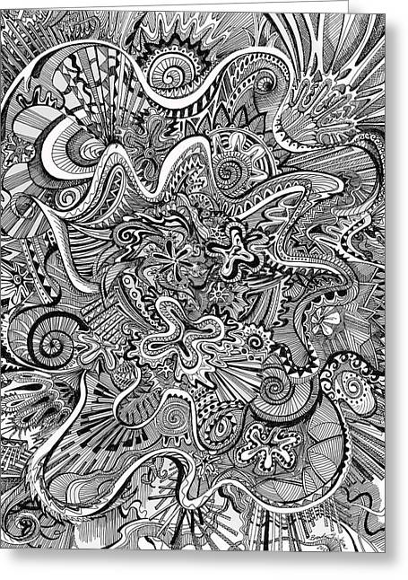 Tendrils Drawings Greeting Cards - Funnel Me Greeting Card by Brenda Erickson